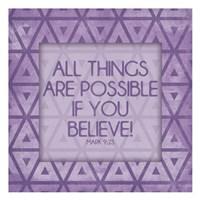 Purple Triangles Believe Fine Art Print