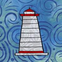 Whimsy Coastal Conch Lighthouse Fine Art Print