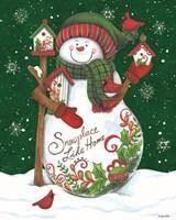 Snowman with Birdhouses Fine Art Print