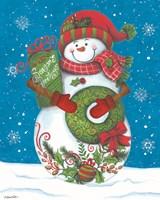 Snowman with Wreaths Fine Art Print