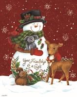 Snowman with Deer Fine Art Print
