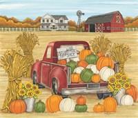 Pumpkins for Sale Red Truck Farm Fine Art Print
