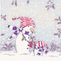 Snowman and Gifts Fine Art Print