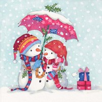 Snowman and Umbrella Fine Art Print