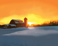 Winter Barn at Sunset Fine Art Print