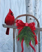 Red Cardinal and Sled Fine Art Print