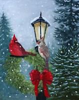 Cardinals and Lamppost Fine Art Print