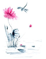 Pink Flower and a Lily Pad II Fine Art Print