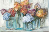 Fall Hydrangeas in Glass Jar Crop Fine Art Print