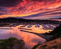 Red Sunset Over Harbor Fine Art Print