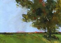 Autumn Oak and Empty Fields Fine Art Print