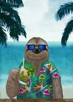 Sloth on Summer Holidays Fine Art Print