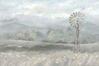 Country Meadow Windmill Landscape Neutral Fine Art Print