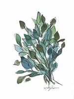 Blue Green Leaves Fine Art Print