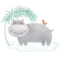 Playful Pals- Hippo Fine Art Print
