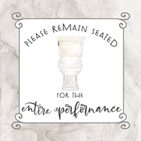 Bath Humor Remain Seated Framed Print