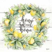 Watercolor Lemon Wreath Home Sweet Home Fine Art Print