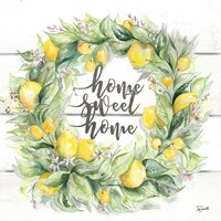 Watercolor Lemon Wreath Home Sweet Home Framed Print