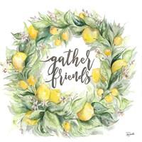 Watercolor Lemon Wreath Gather Friends Fine Art Print
