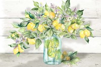 Watercolor Lemons in Mason Jar Landscape Fine Art Print