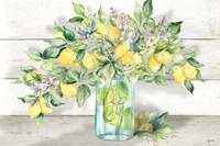Watercolor Lemons in Mason Jar Landscape Fine Art Print