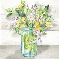 Watercolor Lemons in Mason Jar on shiplap Fine Art Print