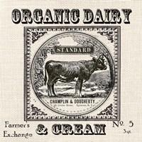 Farmhouse Grain Sack Label Cow Framed Print