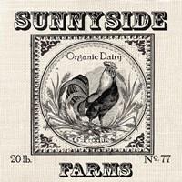 Farmhouse Grain Sack Label Rooster Framed Print