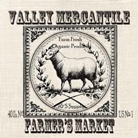 Farmhouse Grain Sack Label Sheep Framed Print