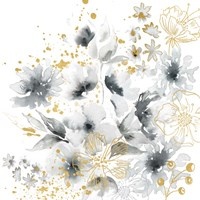 Watercolor Gray and Gold Floral Fine Art Print
