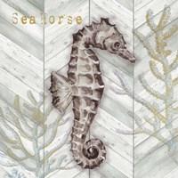 Gray Gold Chevron Seahorse Fine Art Print