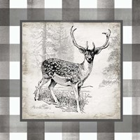 Buffalo Check Deer Neutral I Fine Art Print