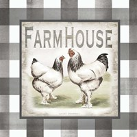Buffalo Check Farm House Chickens Neutral I Fine Art Print