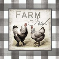 Buffalo Check Farm House Chickens Neutral II Fine Art Print