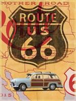 Route 66 Vintage Postcard Fine Art Print