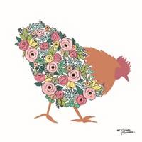Floral Rooster Fine Art Print