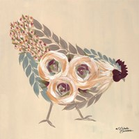 Floral Hen Blue and Yellow Fine Art Print