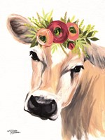 Jersey Cow with Floral Crown Fine Art Print