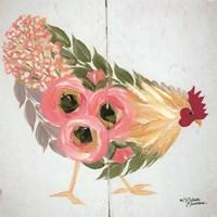 Floral Hen on White Fine Art Print