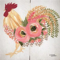 Floral Rooster on White Fine Art Print