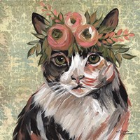 Cat with Floral Crown Fine Art Print