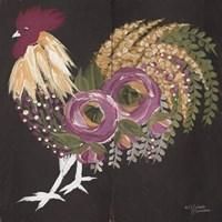 Floral Rooster on Black Fine Art Print