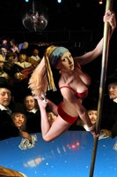Girl with Pearl Earring and Pole Fine Art Print