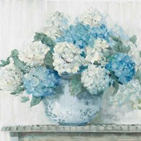 Blue Hydrangea Cottage Crop Fine Art Print