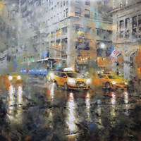Manhattan Orange Rain Fine Art Print