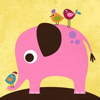 Elephant with Birds Fine Art Print