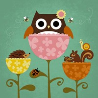 Owl, Squirrel and Hedgehog in Flowers Fine Art Print