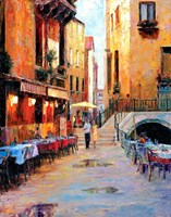 Street Cafe after Rain Fine Art Print