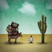 Mr. Penguin Goes on Holiday Fine Art Print