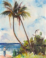 Fishing under Palms Fine Art Print